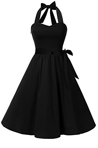 - Topdress Women'sVintage Polka Audrey Dress 1950s Halter Retro Cocktail Dress Black 3XL New