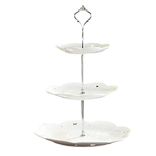 TiaoBug 3 Tier Cake Stand Cake Plate Display Holder Handle Fittings for Tea Shop Room Hotel (Silver) by TiaoBug (Image #1)