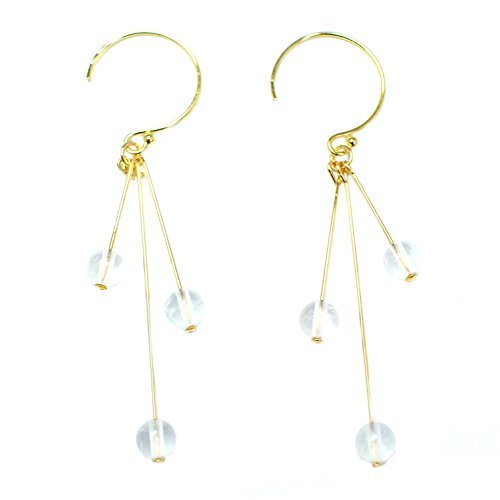 STELLA HANDMADE JEWELRY 14-kt Gold-Filled Brass Stick Earrings with Rose Quartz Beads (Earrings Rose Quartz Loop)