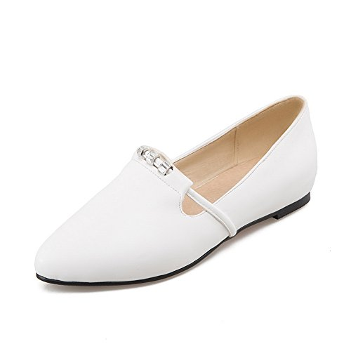 Balamasa Dames Bout Pointu Slip-on Anti-dérapant Rehausser Lintérieur Uréthane-chaussures Blanches