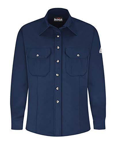 (Bulwark FR Women's SLU3 EXCEL FR ComforTouch Flame Resistant Dress Uniform Button Down Shirt (Small, Navy))