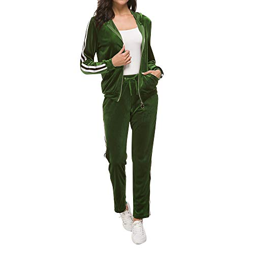 Fantasy Closet Women 2 Piece Outfits Tracksuit Hood Jacket Top Pants Set Outfits Set(Army Green,Size XL)