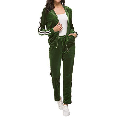 Fantasy Closet Women 2 Piece Outfits Tracksuit Hood Jacket Top Pants Set Outfits Set(Army Green,Size XL) (Hood Top Pants)