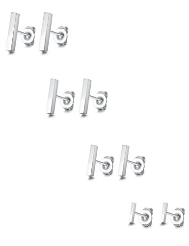 4 Mm Stick (ORAZIO 4 Pairs Stainless Steel Stick Stud Earrings Cubiod Bar Stud for Women Men (G:4 Pairs, Silver-tone))