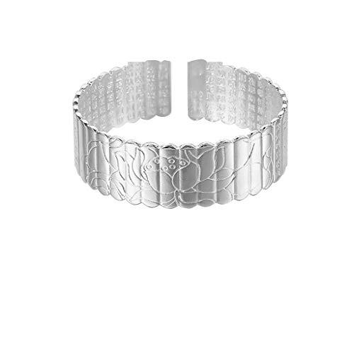 (Hemlock Women Silver Plated Bracelet Engraved Bangles Cuff Bangles Jewelry Gifts gor Mom Girlfriend (sliver2))
