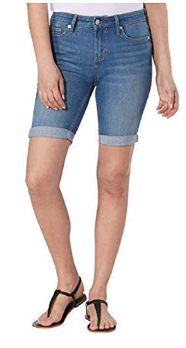 Calvin Klein Women's Shorts Bermuda Stretch Denim, Tulip Blue, Size 14