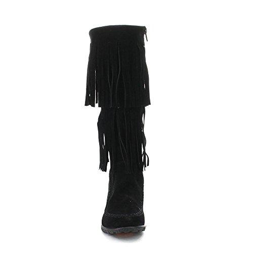 Beston Bernice-03 Moda Donna Due Strati Frange Stivali Stile Mocassino, Colore: Nero, Misura: 8