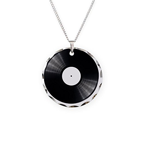 CafePress - Black Vinyl Record - - Charm Necklace with Round (Scallop Circle Album)