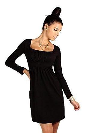 d535f4c28d3 FUTURO FASHION Divine Femmes Mini Robe col carré Manches Longues 2914 - Noir