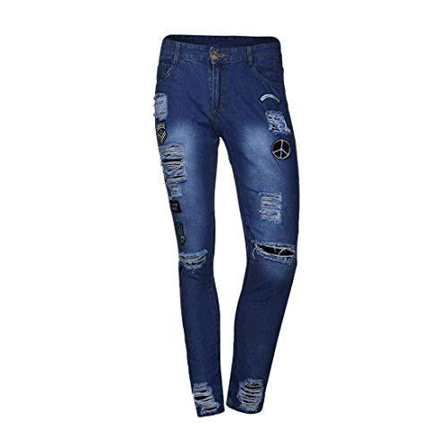 Pantaloni Logo Da Streetwear Slim Denim Jeans Dunkelblau Uomo Fit Elasticizzati Creste Distrutti Casual Estive Moto wqSwrX