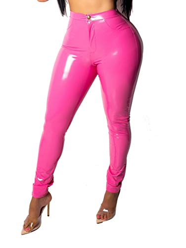 Doris Apparel Latex Pants for Women Sexy Hight Waist PU Leather Lined Legging Trousers Pink