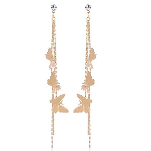 Butterfly Fashion Jewelry - Lovely Double Butterfly Crystal Long Tassel Dangle Earrings for Women Girl Fashion Jewelry Accessories (Gold-1)