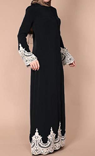 Mogogo Patchwork Musulman Dentelle Abaya Islamic Femmes Boucle Longue Robe Maxi Noir