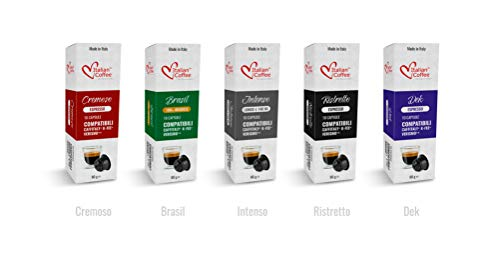 Espresso capsules compatible with Starbucks Verismo, CBTL, Caffitaly, K-fee systems, Italian Coffee pods (Taste Kit 5 blends, 50 Pods tot.)