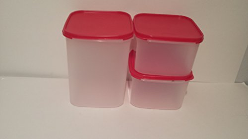 Square Modular Mate Pantry Essential Clear Base Storage Containers Red Airtight Lids Genuine Tupperware 3 Piece Set