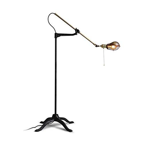 Vintage Adjustable Floor Lamp Light Industrial Retro Imitation Copper Long Arm Standing Reading Lamp Light For Bedroom Living Room