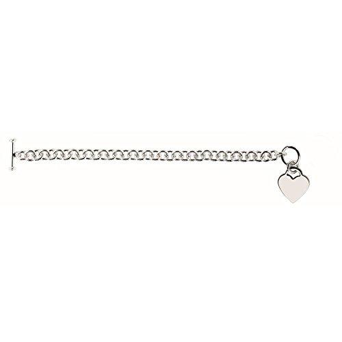 Rhodium argent Sterling plaqué Bracelet à bascule 8 cm-JewelryWeb