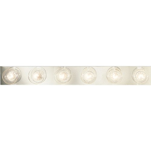 Progress Lighting P3299-15 6-Light Broadway Lighting Strips Sockets On 6-Inch Centers and UL Listed For Ceiling Mounting with 25 Watt Maximum Lamps, Polished Chrome (Broadway 6 Vanity Light)