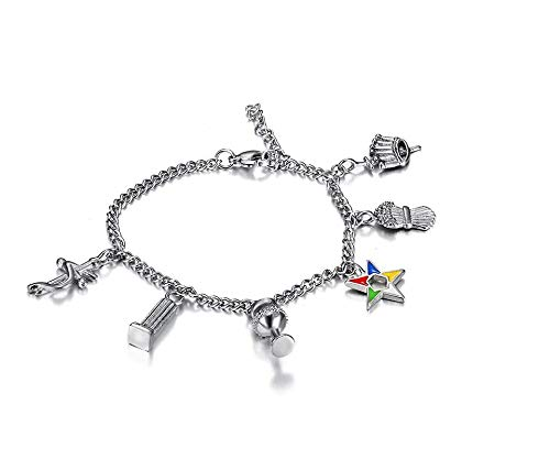 Kongkhuan Jewelry 316l Stainless Steel Silver Color OES Chain Bracelets Order of The Eastern Star Charms Beads Bracelets Ladies