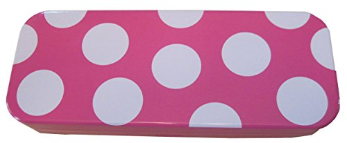 Pink and White, Tin, Eco-friendly, Mini Pencil Box. Use As Pencil, Jewelry, Gift, Candy, Baby Shower, Make-up, Wedding Favor or Birthday Gift Box