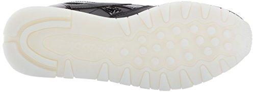 Reebok Donna Cl Lthr L Track Shoe Pearl- Nero / Bianco / Ghiaccio