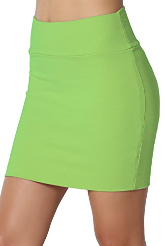 TheMogan Junior's Stretch Cotton Jersey Lined Bodycon Tube Mini Skirt Lime XL