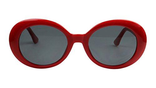 ShadyVEU - Classic Kurt Cobain Style Mod Rock Star Oval Fashion Dark Sunglasses (Red Frame, - Sunglasses Red Star