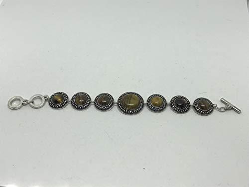 (natural tiger eye gemstone round cabochon adjustable link bracelet)