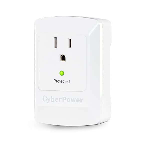 CyberPower CSB100W 900 Joules Essential Wall Tap with 1-Outlet Surge Suppressor 3 3 Surge Protected Outlets Wall Tap - Compact design for multiple device protection 900 Joules of Surge Protection