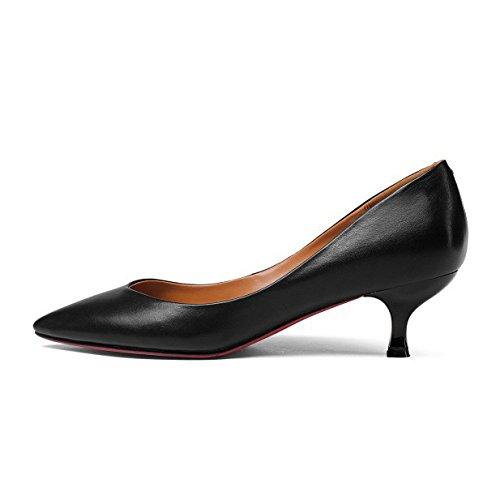 Women's Black Pointy Toe Pumps Slip On Kitten Heels For Wedding Party Office Stiletto Court Shoes Black YIITjGZjaD