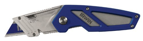 Folding Utility Knife, 6-1/8 in, Blue/Gray