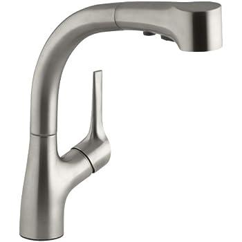 KOHLER K-6352-VS Avatar Single Control Pullout Kitchen Sink Faucet ...