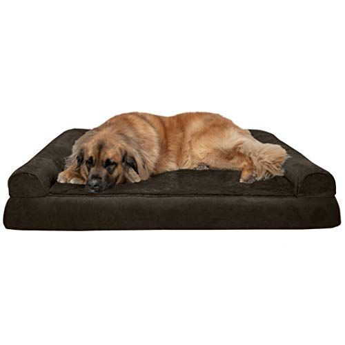 FurHaven Pet Dog Bed Orthopedic Plush Suede Sofa-Style Couch Pet Bed for Dogs Cats, Espresso, Jumbo Plus