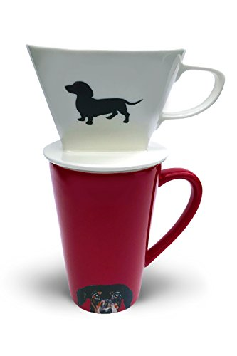 Dachshund Coffee Pour Over Filter Cone and Ceramic Mug Set Dachshund Gift for Dog Lovers by Simply ()