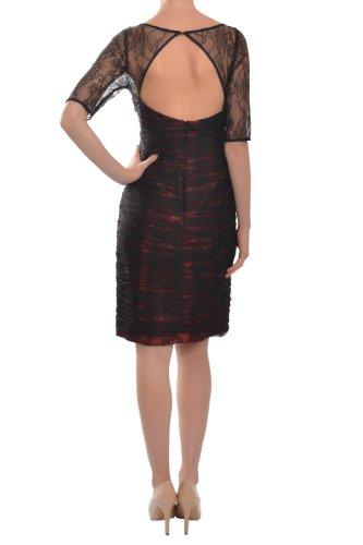 ML Monique Lhuillier Delicate Shirred Lace Short Sleeve Cocktail Dress