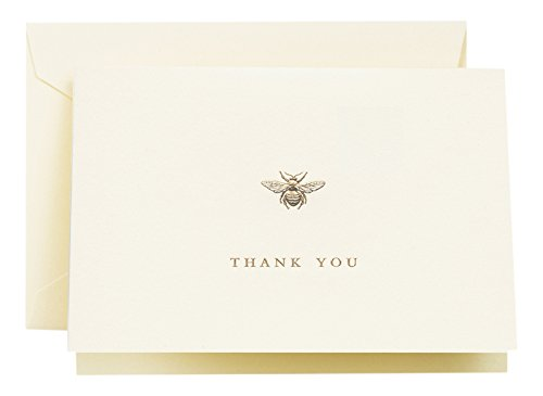 Crane & Co. Engraved Bumble Bee Thank You Note (CT1644) (Note Stationery Cream)