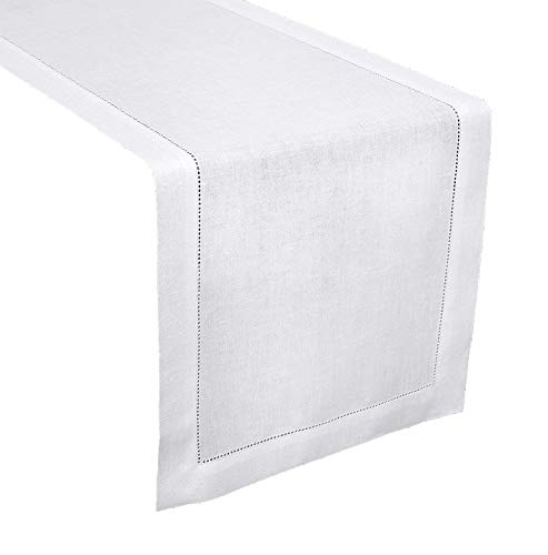 - Fennco Styles Classic Solid Color Hemstitch Border Table Runner for Dining Table, Banquet, Wedding, Family Dinner, 16 x54 Inch, White