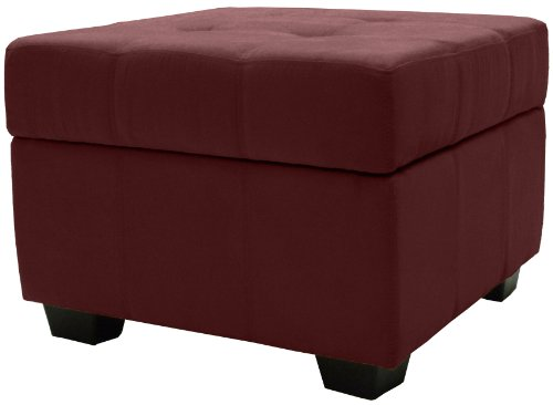 olstered Tufted Padded Hinged Square Storage Ottoman Bench, 24