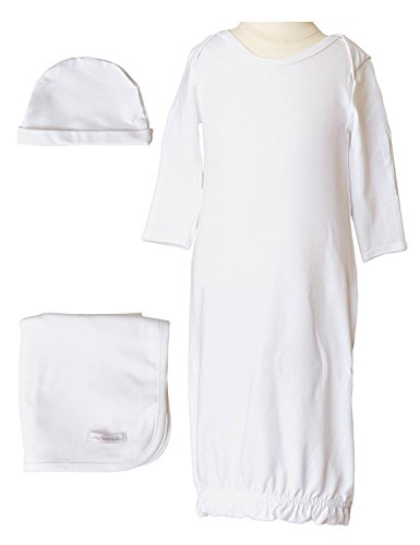 Boys Three-Piece Bamboo Layette Set (0-3 Months, White) (Gown Set Piece 3)
