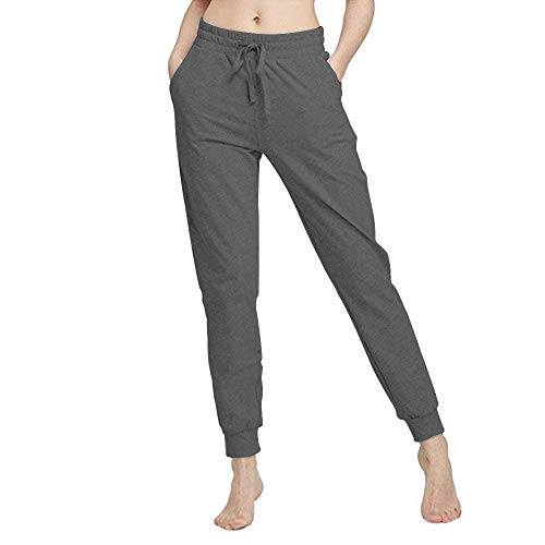 Yaluntalun Women Jogger Pants Active Yoga Sweatpants Drawstring Striped Trousers with Pockets Dark Grey