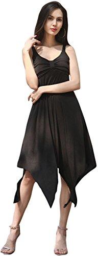 Jeansian Mujer Verano Solid Colour Irregular Hem Playa Evening Party Midi Vestido WHS410 Black