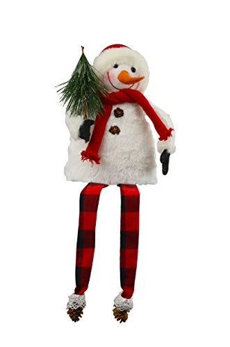 Red Carpet Christmas Tree Snowman Dangle Leg 18 Inch Plush Shelf Sitter Christmas ()