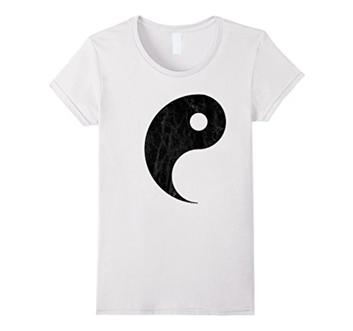 Womens Yin Yang Couples Halloween T-shirt Costume for Best Friends Medium White