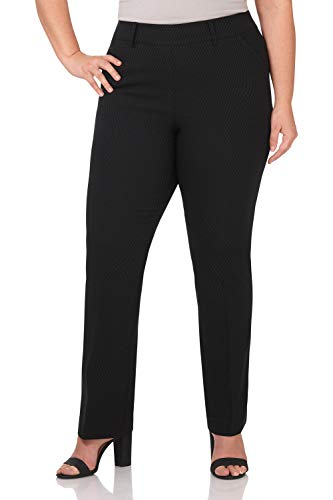 Rekucci Curvy Woman Ease in to Comfort Fit Barely Bootcut Plus Size Pant (24W,Black Diamond)