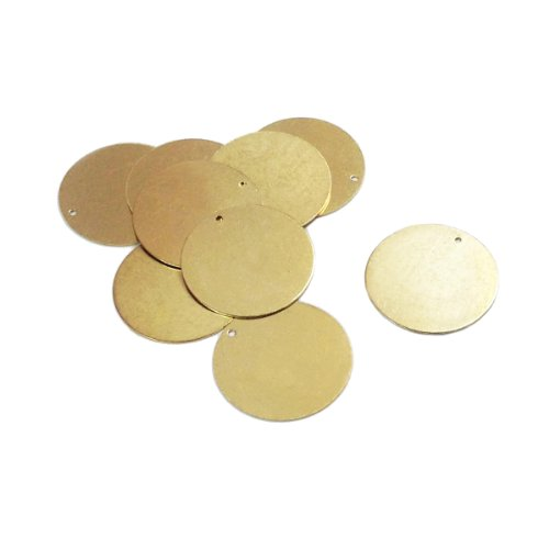 30 Brass Round Circle Metal Stamping Blank Tags 28mm in Diameter with - Rounds Metal