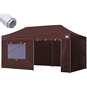 Eurmax Premium 10 x 20 Ez Pop up Canopy Instant Canopies Commercial Grade Outdoor Canopy Package Deal Party Tent Wedding Gazebo Quick shelter with 4 Sidewalls Bonus Roller Bag (Brown)