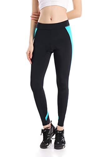 ANIVIVO Cycling Pants Padded for Women, Bike Tights Leggings with Reflective Zip Pocket& Women's Comfort Biking Long Pants(Blue-Raindrop,M)