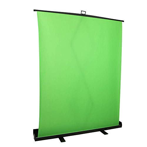 1.5 x 2M / 59 x 78.7 in Collapsible and Retractable Green Chromakey Screen with Built-in Aluminum Case, Premium Backdrop Screen, Fast and Easy Setup for Live Broadcast, Video Studio from NAICEE