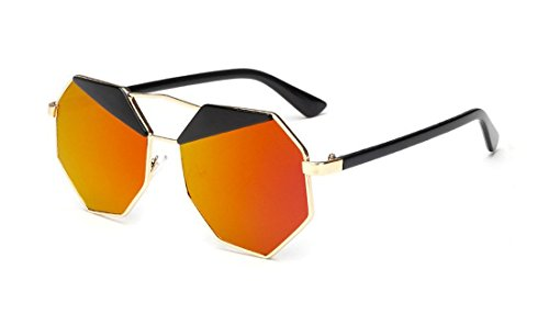 Pink Mirrored Sunglasses Vintage New Design Octagon Shape Uv400 Women Sunglasses - Mirrored Orange Sunglasses
