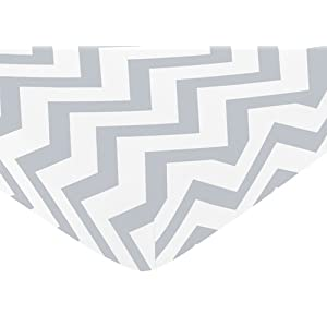 Sweet Jojo Designs Fitted Crib Sheet for Gray and White Chevron Collection Baby/Toddler Bedding – Zig Zag Print